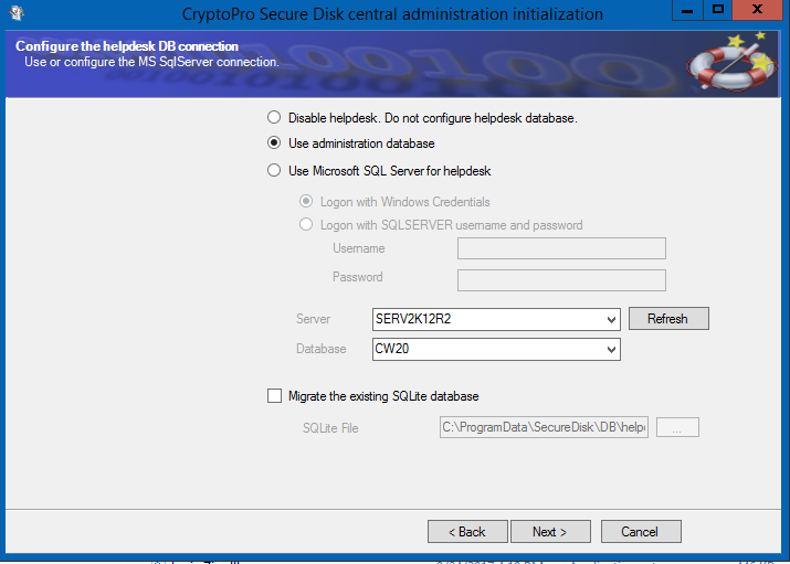 Figure 12: Define helpdesk database