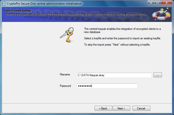 Figure 13: Import server keypair