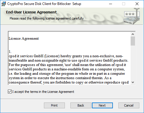 Figure 20: Client end user license agreement
